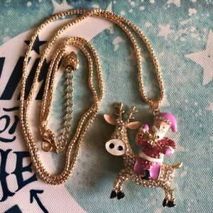 Betsey Johnson Pink Santa Claus Reindeer Necklace